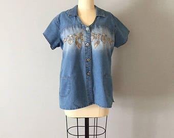 20% OFF SALE... denim embroidered shirt || 90s crop denim top