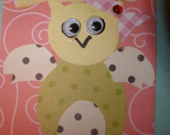 ACEO OWL Artist Trading Card mixed media bird animal scrapbook