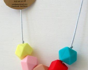 Breastfeeding or teething necklace. Teething necklace. Silicone Bead Teething Jewellery. MOD.2