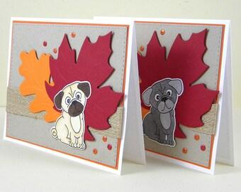 Pug Thanksgiving Card, Fall Pug Card, Pug Card, Fall Dog Card, Dog Thanksgiving Card