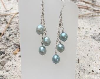 Teal Pearl Cascading Dangle Earrings