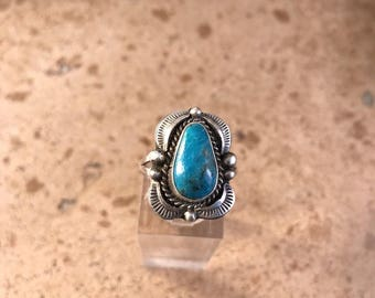 Sterling Silver Navajo Turquoise Ring Size 8 Signed