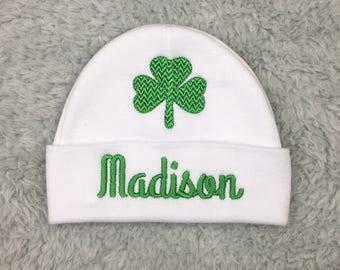 Personalized baby hat with shamrock - monogrammed preemie hat newborn beanie - Irish baby shower gift newborn pictures St Patrick's baby hat