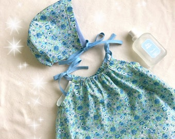 Summer/Summer clearance sale! Baby girl in blue Liberty Amelie reversible hat