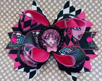 Draculaura Pretty in Pink Monster High Vampire Spike Tail OTT Hair Bow Dracula Halloween