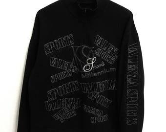 RARE!!!! Valenza Sports Big Logo SpellOut Half Zipper Black Colour Sweatshirts Hip Hop Swag L Size