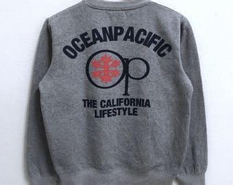 RARE!!! Ocean Pacific Surf Hawaii Big Logo Crew Neck Grey Colour Sweatshirts Hip Hop Swag M Fit S Size