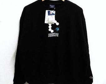 RARE!!! Champion Products Big Logo Crew Neck Black Colour Sweatshirts Hip Hop Swag L Size