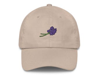 Lavender coat hat. Unisex. 100% cotton. Hat, baseball, snapback, embroidered, embroidery, sea, summer, french riviera, arty, South, nature