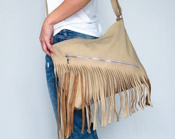 LEATHER FRINGE Bag, Shoulder Bag, Crossbody Handbag, Women's Handbag, Leather Fringe Hobo, Gift for Her, Leather Hobo Bag, Beige Leather Bag