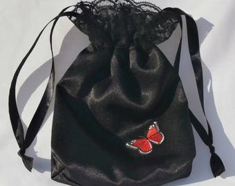 Black Satin & Red Butterfly Motif Web Lace Dolly Bag Evening Handbag / Purse Prom Party