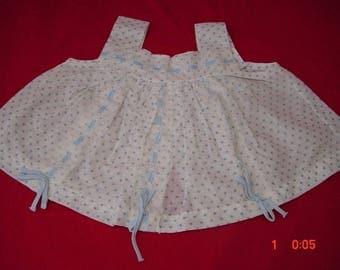 Vintage Diaper Shirt, Blue Dot Cotton, 0-3mo baby, very good cond