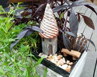Fairy house, Garden tower, Terrarium decor, Ceramic house, miniature clay tower, small castle, small tower, pottery house, Secret Garden