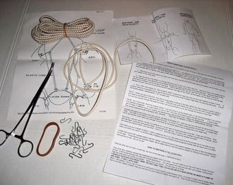 """Doll Making and Repair. 8"""" Curved Locking Stainless Steel Hemostat Forceps. Doll Stringing Instructions. Elastic Cord. Doll Hooks."""