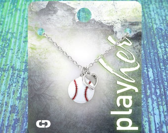 Customized Baseball Heart Enamel Necklace - Personalize with Baseball Jersey Number, Heart Charm, or Letter Charm! Great Baseball Mom Gift!