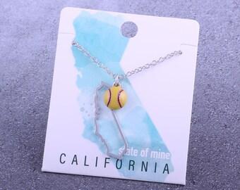 Customizable! State of Mine: California Softball Enamel Necklace - Great Softball Gift!
