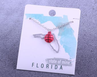 Customizable! State of Mine: Florida Basketball Enamel Necklace - Great Basketball Gift!
