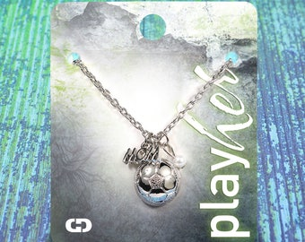 Customizable Soccer Mom Silver Necklace - Personalize with Jersey Number, Heart Charm, or Letter Charm! Great Soccer Mom Gift!