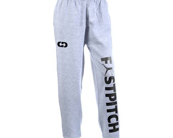 Fastpitch Logo Softball Sweatpants, Grey - 7 Logo Colors, Free Shipping! Great Softball Gift!