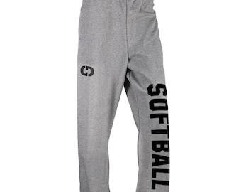 Softball Logo Sweatpants, Grey - 8 Logo Colors, Free Shipping! Great Softball Gift!
