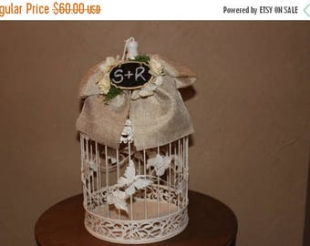 ON SALE Wedding Birdcage Cardholder / Wedding Cardbox / Ivory Burlap Wedding Birdcage