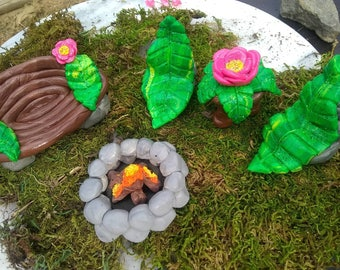 Fairy Garden Furniture, miniture, polymer clay, handmade, table, leaf, chair, bench, firepit, garden