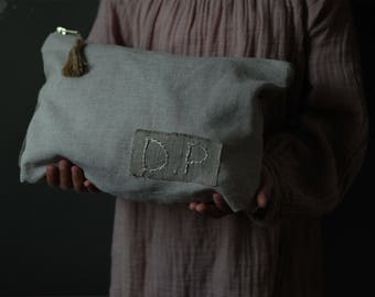 Your initials-embroidered linen pouch