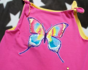Organic Girls Dress, Reversible Butterfly Dress, Pink and Yellow