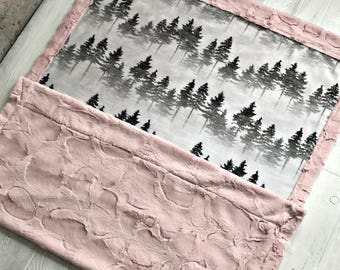 Woodland Minky Baby Blanket Forest Mist Blanket Toddler Blanket Childrens Baby Blanket Twin Sized Blanket Swaddle Blanket