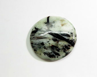 40Cts Astrophyllite Stone Cabochon Loose Gemstone Round Shape AAA Top Quality Natural Astrophyllite Stone for Jewelry Making Gems 31X31X5mm