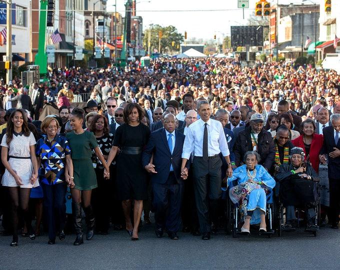 Barack Obama & John Lewis Walk Across Edmund Pettus Bridge on 50th Anniversary of Bloody Sunday in 2015 - 5X7, 8X10 or 11X14 Photo (ZZ-995)