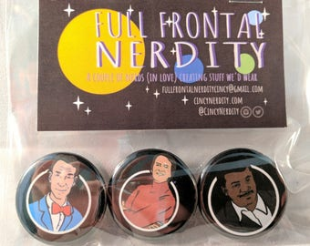 Holy Trinity of Science pinback button set