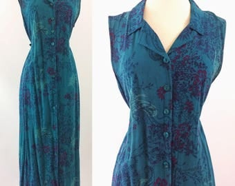 """1990s teal blue paisley dress by """"Erika""""   casual vintage plus size dress"""