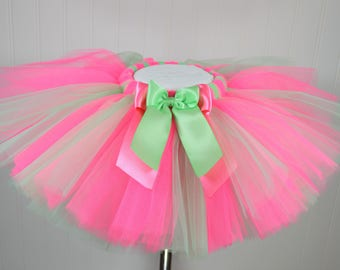 Pink and Mint Tutu - Mint Green Tutu - Watermelon Tutu - First Birthday Tutu - Full Tutu - Fluffy Tutu Skirt - Photo Prop Girl - Tulle Skirt