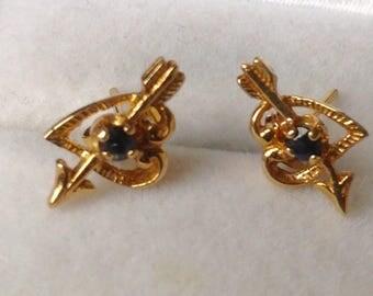 9ct Sapphire Heart Ear Studs
