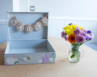Vintage Shabby Chic CARDS BOX Decorative Floral Flowers Spotty Dotty Polka Dot Vintage Style Suitcase Bunting