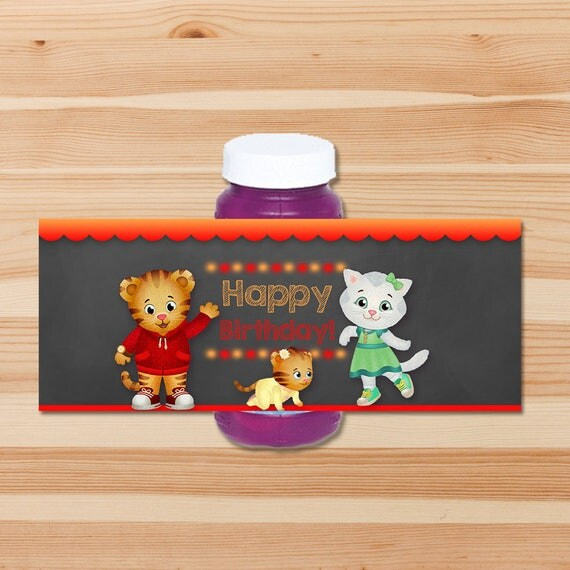 Daniel Tiger Birthday Bubble Labels - Red Chalkboard - Boy Daniel Tiger Bubble Bottle Labels - Daniel Tiger Birthday Party - Daniel Tiger