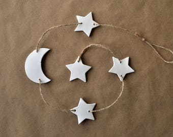 Moon and stars walldecor, nursery wall hanging, stars decoration, white stars, to the moon and back, moon wallhanging, moon star nursery