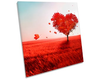 Love Heart Tree Floral Red CANVAS WALL ART Square Print