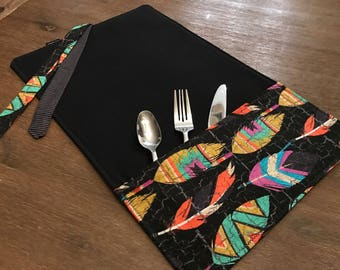 FEATHERS / placemat roll utenciles, portable place mat, for school, for work, placemat for lunchbox!