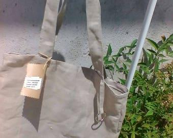 Beige natural linen canvas  tote bag