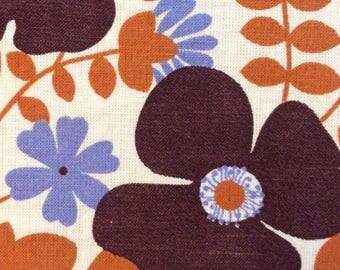1970s Printed Fabric Floral Pattern Garlands Rust Blue Brown Seventies