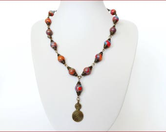 Necklace and earrings tinted agate and bronze metal