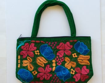 Embroidered bag, Mexican bag, hand embroidered, boho bag, beach bag, bohemian bag