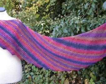 Angle, Fuchsia and blue knit scarf, shawl, hand knit, shawl, scarf, scarf