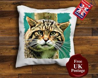Scottish Wild Cat Cushion Cover, Scottish Wild Cat Cushion, Handmade Cushion Cover, Birthday, Wedding, Gift,Gift,