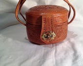 1950s SMALL Brown Leather Tooled Mexcian Handbag  Purse