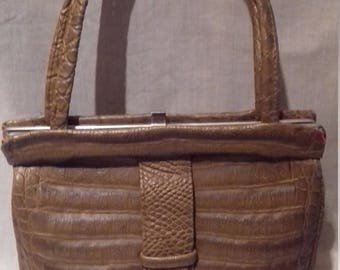 1950s / 60s Vintage Ladies Handbag / Moc Croc Bag / Purse