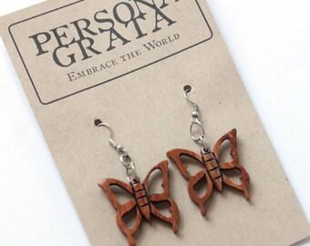 Sale: Wooden Butterfly Earrings, Boho Wooden Earrings, Wooden Jewelry,  Handmade in Nicaragua, Global Chic Earrings, Large Dangle Earrings