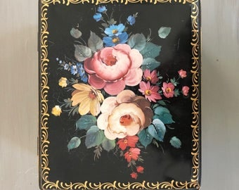 Tin Box with Black Background and Pink Rose Design